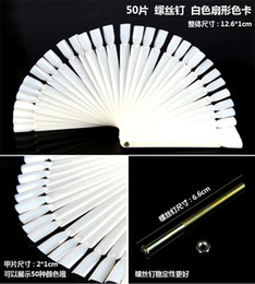 Wholesale Nail Practice Fingers Wholesale - 50pcs False Display Nail Art Fan Wheel Polish Practice Tip Sticks Design DIY,IN STOCK free shipping #6685