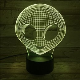 Wholesale Visual Lighting - New Remote Control Alien 3D visual light Table Lamp USB Colorful 7 Color Change LED Home Party Bedroom Decorative Night Light Gift wn317