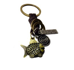 Wholesale Round Head Fish - New Metal Golden Fish charm round star factory Outlets Punk Skeleton Head Leather Key Rings Jewelry Retro Alloy Keychain