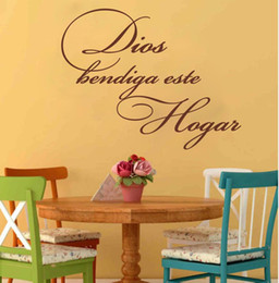 Wholesale God Wall Decal - God bless this home Spanish Quote Wall Sticker Living Room Bedroom Dios Bendiga Este Hogar Spanish Christian Religious Decal