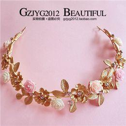 Wholesale Gold Rose Bride Dress - The new 2016 gold leaf ceramic flower hair hoop dress accessories baroque crown bride diamond headdress flower hair accessories