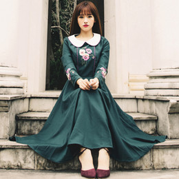 Wholesale Empire Embroidered Prom Dress - dark green dresses for prom women embroidered long dresses plus size dress spring casual vintage style
