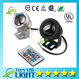 Wholesale Square Pool - IP65 10W RGB Floodlight light Underwater LED Flood Lights Swimming Pool Outdoor Waterproof floodlights lighting Round DC 12V Convex Lens