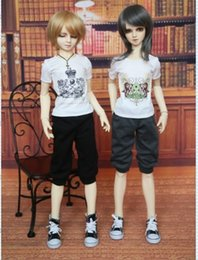 Wholesale Sd Bjd Doll Male - Free Shipping Male Doll Trousers -- Elastic Cropped Casual Pants For 1 3 BJD   SD Dolls, Doll Clothes Toy For Girls