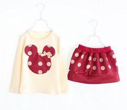 Wholesale Korean Style Shirt New Kids - 2018 Girls Clothing Sets New Arrival Korean Children Sets Wave Point Cartoon Head T Shirt + Short Skirt 2pcs Kids Casual Suits 100-140 TR84