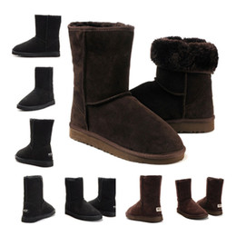 Wholesale Knee High Snow Boots Men - New Arrived man&woman WGG Australia Classic snow Boots winter boots cheap high quality discount Ankle Boots Knee Boot Khaki Black Grey Brown