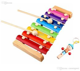 Wholesale Instruments Xylophone - Wholesale-Melody Xylophone and Whistle Baby's Early Education Wooden Musical Instrument Toys Trailer 8 Scales , 24*13cm