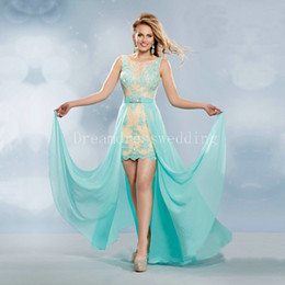 Wholesale Lilac Aqua Dresses - Two Piece Prom Dresses vestido de festa Cheap Sexy Aqua Chiffon Long Prom Dress 2016 Elegant Champagne Lace vestidos de baile