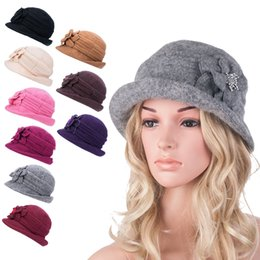 Wholesale girls bucket hats - Womens Gatsby Style 1920s Flapper Girl Winter Wool Cap Beret Beanie Cloche Bucket Formal Hat A299