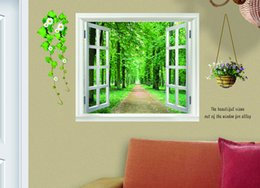 Wholesale Scenery Wall Sticker - 5 pcs lot Details about 90*60cm 3D Window Scenery Flower Wall Sticker Decor Decals Removable Free Shipping