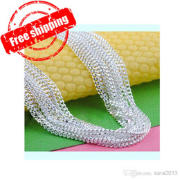 Wholesale Enamel Crystal Necklace - Free shipping WHOLESALE 10PCS 20 inch 2mm 925 sterling silver flat Chain necklace