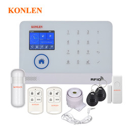 Wholesale Gsm Rfid Alarm - WIFI GSM RFID Security Alarm System Russian with camera IP option for Home House Burglar Intruder Safety Android App Control