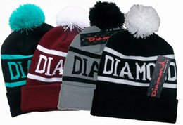 Wholesale Diamond Supply Hats Wholesale - Hip hop Diamond Supply Co Beanie wool ball of knitting hat Beanie band tag free shipping