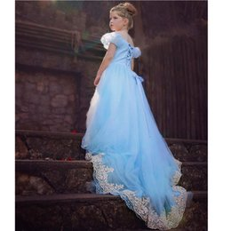 Wholesale Embroidered Long Sleeve Dress - long princess prom dress 2015 cinderella dress costumes cosplay lace embroidery dress cinderella ball gown for girls free shipping