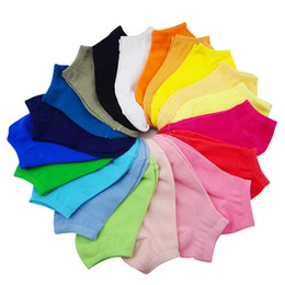 Wholesale Crew Cuts Girls - Wholesale-1 Pair Candy Color Women Lady Girl Socks Short Ankle Boat Low Cut Sport Cotton Socks Crew Casual New 11 Colors Calcetines Mujer