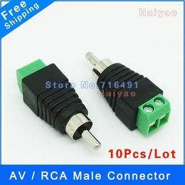 Enchufe del acoplador online-10 unids enchufe macho RCA macho a coaxial adaptador de conector de cable F / M acoplador para cámara CCTV