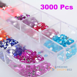 Wholesale Nail Stickers Ems - Wholesale-#F9s 3000 Pcs Round Nail Art stickers Rhinestones Glitter Case New EMS DHL Free Shipping Mail
