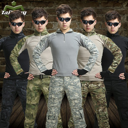 Wholesale Men S Military Uniform - 11 colors hunting clothing airsoft camouflage suit military unfirom paintball equipment military clothing combat shirt uniform