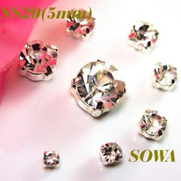 Wholesale Rhinestone 5mm - 360pcs set New SS20(5mm) Silver Loose Crystal Sew On Rhinestone Beads Free shipping