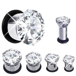 Wholesale Stainless Stretcher - Fashion Body Jewelry Stainless Steel Zircon Ear Flesh tunnel Mix 6-12mm 32pcs lot Ear Gauges Stretcher Expander Piercing Plug
