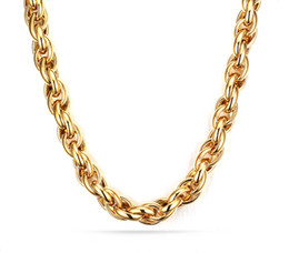 Wholesale Twisted Link Chain Stainless Steel - High Quality Classical Hotsale 22'' 9mm IP 18K Gold Plated Stainless Steel Mens Huge Heavy twist oval Rope Link Chain Necklace