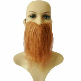 Wholesale White Beard Costume - Free Shipping 12pcs lot Funny Costume Fancy Party Halloween Fake Beard Moustache Mustache Facial Hair White Brown Black 3 Colors