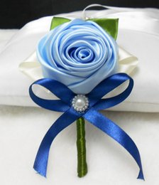 Wholesale Cheap Wholesale School Supplies - Fashion Cheap Blue Satin Rose Flowers With Royal Blue Ribbon Pearls Groom Corsage Handmade Wedding Corsage Hot Sale Wedding Supplies