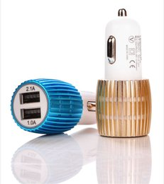 Wholesale Car Charger For Iphone5 - LED Lighting Car charger Steel Ring dual usb 2.1A+1A 2 port universal travel adapter for iphone7 6s iPhone5 ipad samsung Galaxy s7