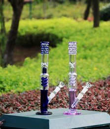 Wholesale Bell Shapes - Real Glass water Pipe bell shape purple blue perc perculator plus honeycomb recycler oil rigs glass bongs 18.8mm joint size Bong Glass