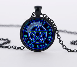 Wholesale Star Glass Necklace - Blue stars Wiccan Pendant Necklace charms Jewelry personality Pentagram glass Occult necklaces pendants CN682