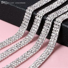 crystal ribbon cake Promo Codes - Wholesale-5 Yards 3mm Glass 888 Rhinestone Chain Trimming Sew On Silver Base Density Strass Crystal Cup Chain For Cake Ribbon Decoration