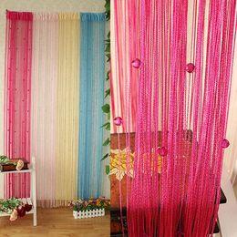 Cortinas transparentes 13 colores rebordeado línea de cuerda ventana de la cortina panel de la puerta cortina divisor de la habitación desde fabricantes