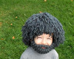 Wholesale Crocheted Wigs - New Beard Wig Hats Handmade Cap Bonnet Knit Warm Winter Caps Men Women Kids Hats