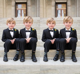 Wholesale Silver Kids Tuxedo - Custom Made Boys Suits For Weddings Black Kids Tuxedos New Arrival 2 Piece Little Men Suit Formal Wear