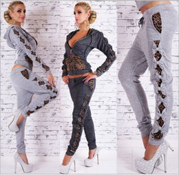 Wholesale Girls Leopard Print Tracksuit - Spring High Quality Leopard printed Sport Suit Tracksuits Patchwork Bowknot Women Sweatshirt set Girls Hoodies and pants free shipping