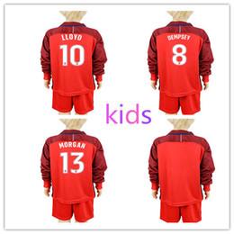 Wholesale Usa Suits - Youth USA Long Sleeve Jersey 17-18 Soccer American Kids Suit Football Shirt Children 10 Christian Pulisic 4 Robert Bradley 8 Clint Dempsey
