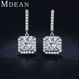 Wholesale Long Diamond Earrings Wedding - MDEAN White Gold Plated Earing CZ diamond AAA Wedding Luxury Drop Long Earrings for Women ME033