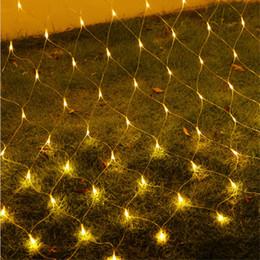 Wholesale Xmas Led Net Lights - 2x2M 144 LED Outdoor Net Lights Christmas Xmas Fairy String Party Holiday Wedding Party Decoration Lights EU Plug Blue Colorful Hot