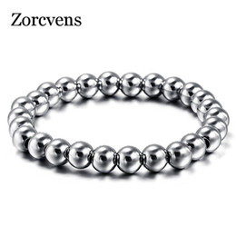 Wholesale Heavy Metal Jewelry Wholesale - Wholesale- ZORCVENS 316L Stainless Steel Mens Bracelet Classical Biker Bicycle Heavy Metal 8MM Ball Link Chain Jewelry Bracelets For Men