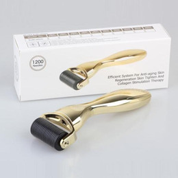Wholesale Gold Face Roller - 600 1200 Needles Derma Roller Gold Silver Handle with replacement head 0.2mm-3.0mm Face Body derma roller