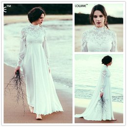 Wholesale Simple Long Dresses For Beach - Empire Waist Bohemian Maternity Wedding Dress High Neck Long Sleeves Lace Appliques Beach Wedding Dresses For Pregnant Bride Gowns Watteau