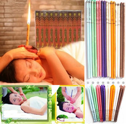 Wholesale Fragrances Candles - Free Shipping Coffee   Sandalwood Ear Candle Traditonal Indian Fragrance Ear Candle Massage Detox Beauty Help to Soft & Wet Skin 100PCS
