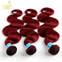 Wholesale Cheap Red Human Hair Extensions - 3PCS Lot 8-30Inch Grade 7A Burgundy Peruvian Body Wave Virgin Human Hair Weave Bundles Wine Red 99J Cheap Remy Hair Extensions Double Wefts
