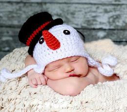 2019 crochet toddler bonnets Boneco de neve Chapéu Do Bebê Das Meninas Dos Meninos Tampas de Malha de Malha de Crochê Da Criança Recém-nascido Infantil Crianças Natal Hallowmas Beanie Earflaps Algodão crochet toddler bonnets barato