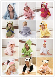 Wholesale Kids Cartoon Bathrobe - Retail-14 designs Baby Hooded kids bath towel Animal Modeling Swimming bathrobe Baby cartoon Pajamas