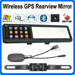 Wholesale 4 inch Bluetooth GPS Navigation Wireless AVIN Car Mirror Rearview Camera System FM Game WinCE Navigator With GB Maps