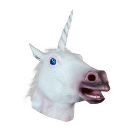 Wholesale Halloween Costume Head Mask - Halloween Party Latex Animal mask for Adult Novelty Creepy White Unicorn Horse Head latex Rubber Costume Theater Prop Party Mask T395