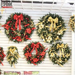 Wholesale Straw Wreaths - 2016 New 60cm Red Gold 2 Color Merry Christmas Wreaths XMAS Garlands XMAS Tree Door Decor Ornament free shipping