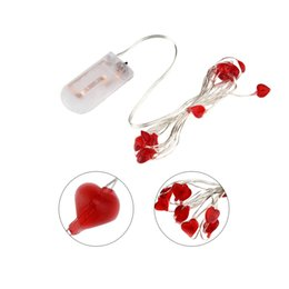 Wholesale Battery String Light Heart Shape - Wholesale- ICOCO 3M 30LED Beautiful Heart Shape String Light Party Festival Wedding Party Decoration String Light Powered By Button Battery
