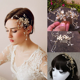 Wholesale Sparkly Tiaras - Cheap 2015 Gold Crystal Hair Accessories Flower Crystal Tiaras Sparkly Bride Hair combs Bridal Accessories Dhyz 01